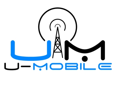 The U-Mobile logo! A simple blue and black color scheme with a signal tower.